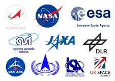World space agencies logos. Vector logos collection of the most important space agencies of the world. Additional Vector file available for single elements usage Royalty Free Stock Photos