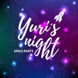 World space party card design. Yuri`s night banner or flyer. April 12 Cosmonautics Day. Stock Image