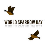 World Sparrow Day. Vector Illustration for the holiday bird. Space for text. It can be used for decoration greetings, invitations, advertising banner, poster Royalty Free Stock Images