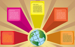 World speech box. Illustration of speech box splash out of the world. Concept of communication design stock illustration