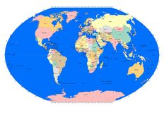 World Sphere with Countries - Grid Lines - Blue Oceans Royalty Free Stock Photography