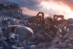 World of spiders. The world after a nuclear apocalypse. Spiders have mutated and become monstrously large. The frightened woman and child hiding from a giant