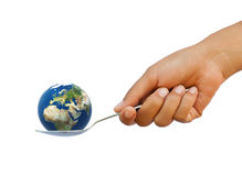 World in spoon Royalty Free Stock Photos