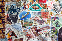 World stamps. Collection of postage stamps from a variety of countries Stock Photos