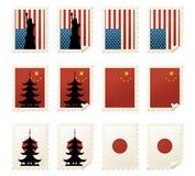World Stamps Asia & USA stock illustration