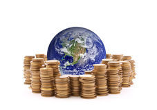 World standing on money. Earth image provided by Nasa stock photo