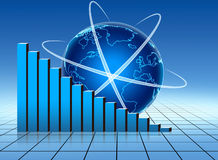 World stats. Blue stats graph with earth globe Stock Image
