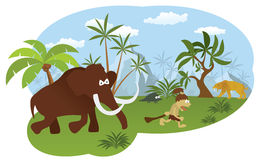 World of stone age. Vector illustration of world of stone age (Mammoth hunting caveman Royalty Free Stock Photography