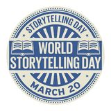 World Storytelling Day stamp. World Storytelling Day, March 20, rubber stamp, vector Illustration Stock Photography