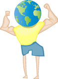 World Strength. Illustration of a muscle man body with a world head Stock Images