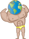 World Strength. Illustration of a muscle man body with a world head Royalty Free Stock Photography