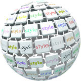 World of Style Ball Sphere Different Unique Diverse Designs. Style word on tiles in a sphere to illustrate a world or wide range of unique, different and diverse royalty free illustration