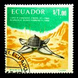 World Success in space cooperation - Luna 9, Space serie, circa. MOSCOW, RUSSIA - NOVEMBER 26, 2017: A stamp printed in Ecuador shows World Success in space Royalty Free Stock Image