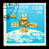 World Success in space cooperation - Lunar Orbiter 1, Space seri. MOSCOW, RUSSIA - NOVEMBER 26, 2017: A stamp printed in Ecuador shows World Success in space Royalty Free Stock Images