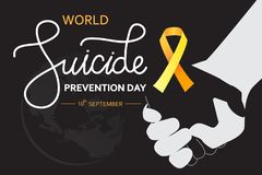 Free World Suicide Prevention Day Concept With Awareness Ribbon. Dark Vector Illustration For Web And Printing Royalty Free Stock Photos - 157471778