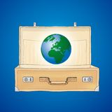 The World in a suitcase (vector) vector illustration