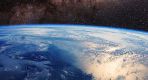 World and sun - elements of this image furnished by NASA. Our earth from outer space stock photography