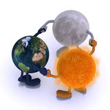World, sun and the moon are round dance Royalty Free Stock Image