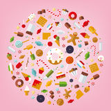 World of Sweets and Candy. Multiple candies, sweets, cookies and cakes icons arranged in circle on pink background, flat design Royalty Free Stock Image