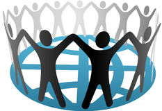 World Symbol People Hold Hands on Globe Stock Photography