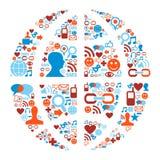 World symbol in social media network icons. Social media icons set in Earth globe shape illustration