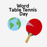 World table tennis day. Ping pong rocket. Flat  stock illustration Royalty Free Stock Images