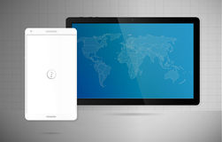 World tablet connect with phone Royalty Free Stock Photos