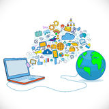 World and tablet connecting with communication and business icon Stock Image