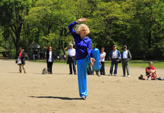 World Tai Chi-Qigong Day in Central Park. This was shot in the Central Park of New York City on April 24, 2010, which is the 11th annual World Tai Chi-Qigong Day Stock Photography