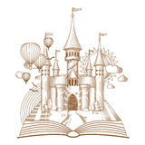 World of tales, fairy castle appearing from the old book, cartoon vector illustration. Mono line art Royalty Free Stock Photos