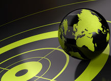 World and target  geolocation - background. World and target over a black background - geolocation Stock Photo