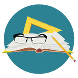 World teacher`s day.Book, glasses, pen and straight edge . Stock Image