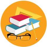 World teacher`s day.Book, glasses, pen and straight edge . Stock Photos