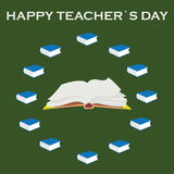 World teacher`s day.Book, glasses, pen and straightedge vector. Royalty Free Stock Images