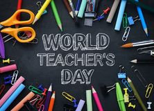 World Teacher`s Day Text. School Stationary Top View on Blackboa