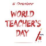 World Teachers` Day. A cartoon girl writes a big pencil. 5 October. World Teachers` Day. A cartoon girl writes a big pencil Stock Illustration