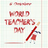 World Teachers` Day. A cartoon girl writes a big pencil the letter against the background of a tetrad sheet in a blue cage Stock Photography