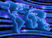World Technology. 3D World Map with binary code, dots and lights representing the digital world. Concept of digital technology around the world