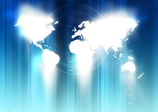 World Technology Map. A Global map illustration in blues stock image
