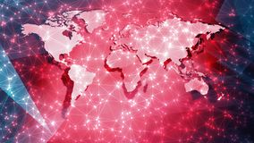 World technology science news background, connection digital wires and circle dots on world map. Connected dots with lines and graphic world map, creative stock images