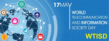 World Telecommunication and Information Society Day. On May 17 Background Stock Photography