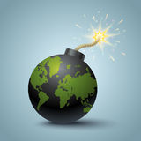 World terrorism. Vector illustration of a bomb with World map Royalty Free Stock Photos