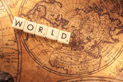World text on a map Royalty Free Stock Images