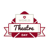 World Theatre day greeting emblem Royalty Free Stock Photo