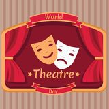 World Theatre Day, 27 March. Happy and sad face masks at stage conceptual illustration Royalty Free Stock Photography