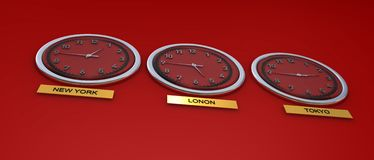 World time for 3 global cities Stock Photography