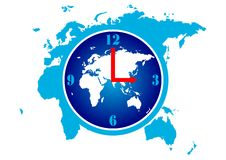 World Time. Illustration of time globe and world map vector illustration