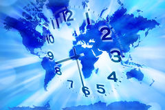 World Time Clock Earth. A clock with a world map in the background Stock Photo