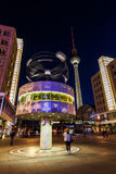 World time clock on Alexanderplatz in Berlin, Germany, at night Royalty Free Stock Images