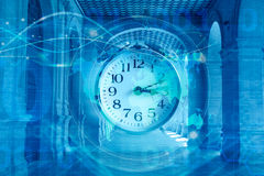 World time concept. Clock on blue background Royalty Free Stock Images